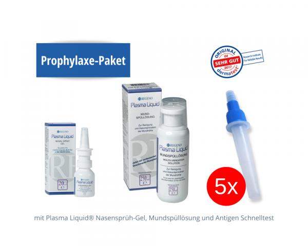 Prophylaxe-Paket: Plasma Liquid® Nasensprüh-Gel, Mundspüllösung und SARS-CoV-2 Antigen Schnelltest