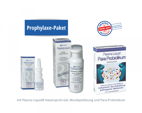 Prophylaxis package: Plasma Liquid® Nasal Spray Gel, Mouthwash Solution and Para-probiotic